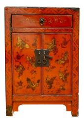 Diminutive Antique Red Lacquer Asian Side Chest With Gilt Butterfly Motif