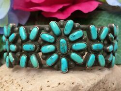 Large 1930s Native American Zuni Turquoise Cluster Sterling Silver Cuff Bracelet