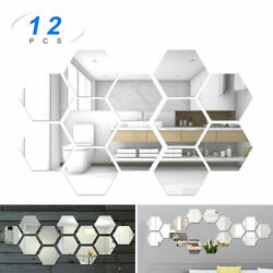 3D Mirror Wall Stickers 8*7*4cm Hexagon Removable Vinyl Home DIY Decor US Stock