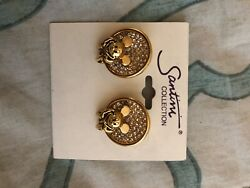 Mickey Mouse Earrings New In Box Disney Gold Colored Sparklyandnbsp