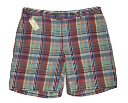 Peter Millar Seaside Shorts Madras Plaid In Cape Red Ms18b08 35 Or 36 Linen Silk