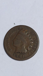 1887 Indian Head 1 Cent / Penny Us Coin Vintage , Genuine, Free Shipping