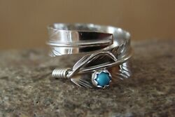 Navajo Indian Handmade Sterling Silver Turquoise Feather Ring Adjustable