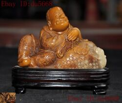 China Natural Tianhuang Shoushan Stone Carved Wealth Gold Toad Arhat Damo Statue