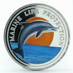 Palau 20 Dollars Marine Life Bottle-nose Dolphin Colored Proof Silver Coin 1998