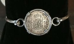 Treasure Coin Pirate Piece Of Eight Spanish Authentic 1 Reale Set Ss Bracelet
