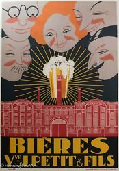 Rare Antique French Advertising Beer Poster Bieres Vve J. Petit And Fils Fine
