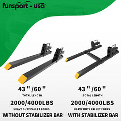 2000lb 4000lb Tractor Pallet Fork Bucket Clamp On Skid Steer Loader 43and039and039 60and039and039