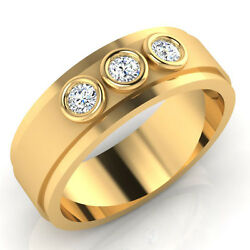 0.22 Ct Real Diamond Mens Rings 14k Yellow Gold Wedding Bands Size 9.5 10 11 12