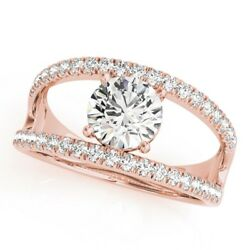 0.80 Ct Round Cut Real Diamond Engagement 14k Solid Rose Gold Anniversary Rings