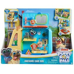 Disney Junior Puppy Dog Pals Awesome Care Bus 2 Puppy Figures Lights Sounds New