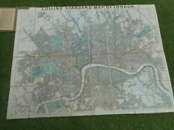 100 Original Large Central London Folding Map On Cloth By Collins C1877 Vgc