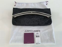 JUDITH LEIBER RARE BLACK COSMO JET CRYSTAL FOLD OVER CLUTCH HANDLE BAG NWTS!