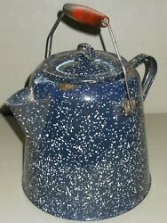 Lg Vintage Blue Speckled Enamelware Coffee Pot Red Handle Campfire Camping
