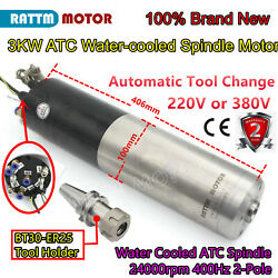 3kw Bt30 Atc Mill Automatic Tool Changer Water Spindle Motor 220v/380v 24000rpm