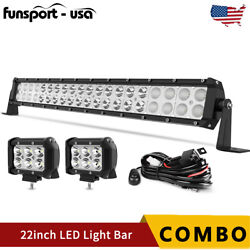 22inch Led Light Bar Spot Flood Combo + 2x 4 Pods + Wiring For Jeep Truck Suv