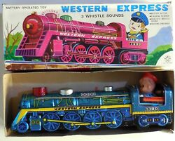Vintage Tin Toy Train Western Express Kanto Toys Made In Japan 1970s Boxed