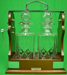 Abercrombie And Fitch Crystal Twin-decanter Tantalus Cabinet Made In England