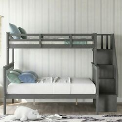Contemporary 1-Piece Twin Over Full Bunk Bed Dorm Kids Adults Gray Color Home