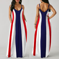 Womens Spaghetti Strap Stripe Long Maxi Dress Loose Casual Summer Beach Sundress $16.99