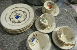 Adams Royal Ivory Titian Ware Midieval Time Shields Dishes Mixed Lot 12 Pc