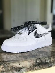 Custom Nike Air Force 1 White Bandana 10 10.5 7y 8 6.5y 6y 7.5 8.5 5.5y 9.5 6.5y $175.00