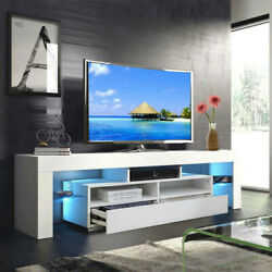 High Gloss 63'' Tv Stand Unit Cabinet W/ Drawers Led Light Living Room Furniture