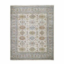 8and0391x10and039 Ivory Pure Wool Geometric Design Hand Knotted Rug G59029