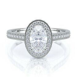 1.05 Ct Oval Cut Real Diamond Engagement Rings 14k Solid White Gold Size M N O P