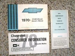 1970 Chevelle Malibu Spt Or Ss Factory Gm Original Owners Manual Set