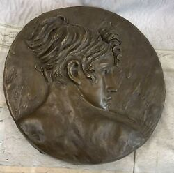 Art Deco Signed Original French Artist Jean Patoue And039and039forgive Meand039and039 Bronze Sculptu
