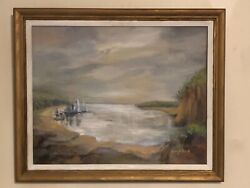Rare Original Signed Mary Maxwell Houghman Oil Painting Fones Cliff Va 1905-1995