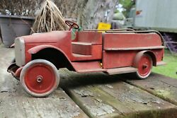 Antique 1920and039s Buddy L Wood And Metal Toy Model Fire Truck