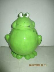 Ganz Roly Polly Cross-eyed Green Frog Cookie Jar Bella Casa Collection