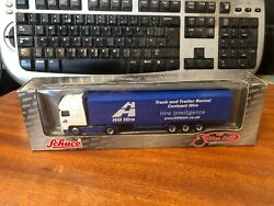1/87 Scale 'ho' Schuco Daf Tractor Unit And Hill Hire Box Trailer - Boxed
