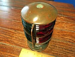 Vintage Perko Soup Can Bronze Bow Light, Red/green Glass Lens New Socket/led