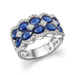 5.00 Ct Real Diamond Oval Blue Sapphire Engagement Sterling Silver Ring All Size