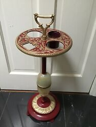 Vintage Ashtray Smoke Stand Swag Glass Cast Iron Metal Restored