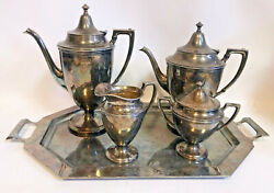 Antique Crescent Silver Mfg Co 2 Tea Pots Coffee Cream And Sugar With Tray Plated
