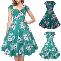 Womens 1950s Vintage Rockabilly Party Pinup Evening Dress Cap Sleeve Swing Dress $14.99