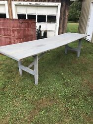Cool Old Gray Folding Store Table Farm 10 Ft Long As Found