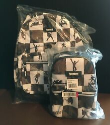 New Fortnite Olive Green And White Camo Multiplier Backpack/lunchbox Set