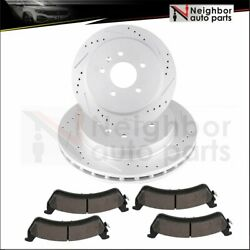 Drilled Slot 2x Brake Rotor 4x Ceramic Pads Rear For 05-11 Cadillac Seville Sts