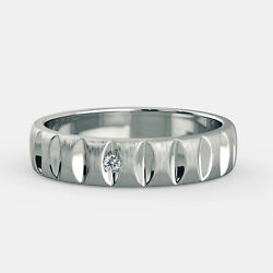0.04 Carat Round Cut Natural Diamond Men's Bands 14k Solid White Gold Size 10 11