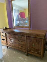 As Is - Make An Offer - Antique Solid Oak Dresser With Mirror