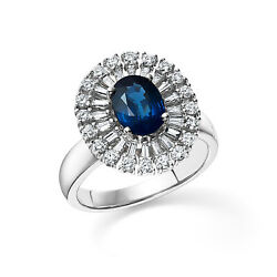Natural Diamond Blue Sapphire Oval 2.13 Ct 950 Platinum Womenand039s Ring Size M N P