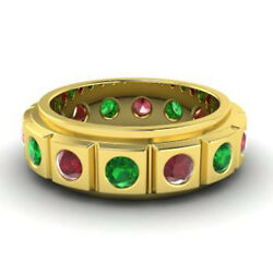 2.00 Ct Genuine Real Ruby Emerald Wedding Bands 14k Yellow Gold Rings Size M N P