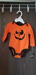 New Halloween One Piece Orange With Black Trim And Jackand039oand039lantern Smile 0/3 Mth