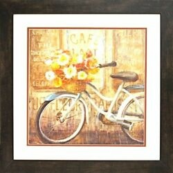 Framed Meet Me At Le Cafe 2 By Danhui Nai 22x22 Art Poster Print French Bicycle