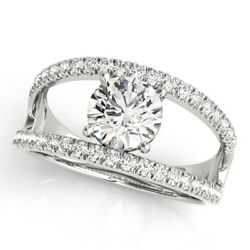 0.80 Ct Round Cut Real Diamond Engagement Hallmarked 14k White Gold Rings Size M